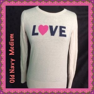 Cream Color Love Pullover Sweater by Old Navy Med
